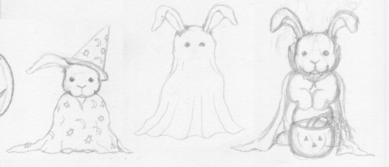 Halloween Rabbit Sketches