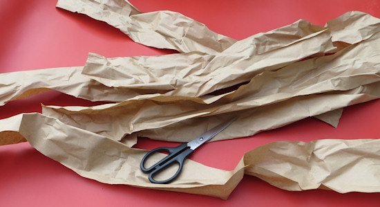 strips of brown paper