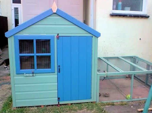 decorated children's playhouse used as a giant rabbit hutch